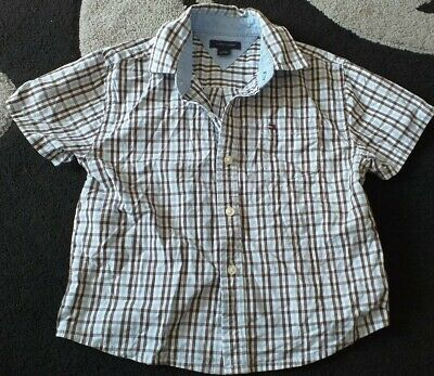 Boys Tommy Hilfiger Check Short Sleeve Shirt - Size 3T - Age 3 Years Toddler