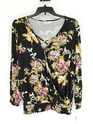 Style & Co Womens Plus SZ 1X Vintage Black Floral Bouse Top B46 L29