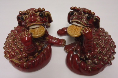 vintage fu/foo dog pair figurine ceramic statue lucky gold coin feng shui lion