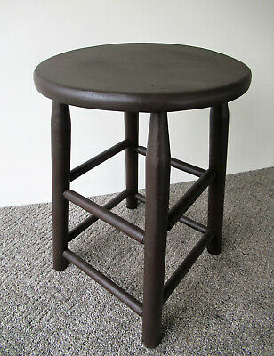 "Vintage Stool Brown Paint Primitive Pine Wood 18"" Tall Round 13"" Seat Diameter"