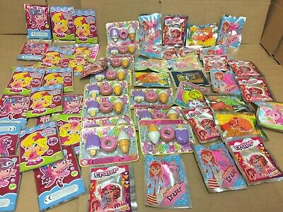 job lot wholesale 57 Mixed erasers & Badges sealed in packets party fillers