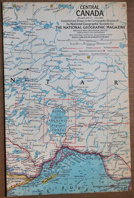 """1963 old National Geographic Atlas Map Plate #24 Central Canada 19 x 25"""" GOOD+"""