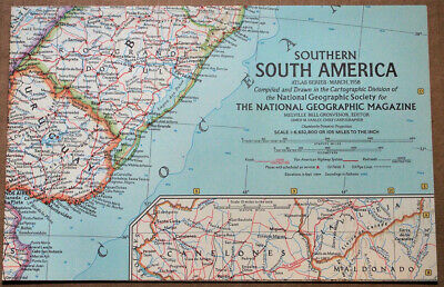 """1958 National Geographic ATLAS MAP Plate #2 Southern South America 19 x 25"""" MINT"""