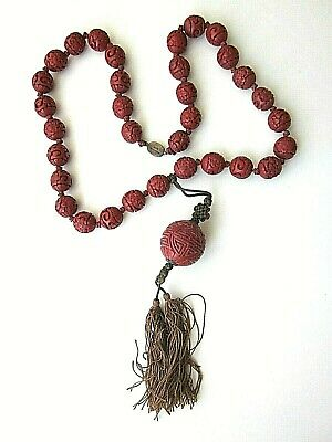 Antique CHINESE Early Republic CARVED CINNABAR Bead NECKLACE Silk Tassel 10of10