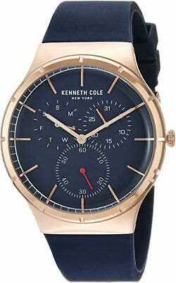 Brand New Authentic Kenneth Cole Men's Rose Gold Blue Silicone Strap Band Watch