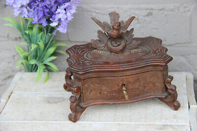 Antique Swiss black forest wood carved jewelry trinket box birds nest  velvet
