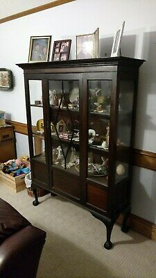 LOCAL PICKUP!! Vintage Antique Curio Cabinet Display Victorian Wood Carved Glass