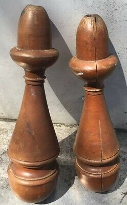 """2 Antique turned wood finial Salvaged furniture Rope bed post topper 12.5"""""""
