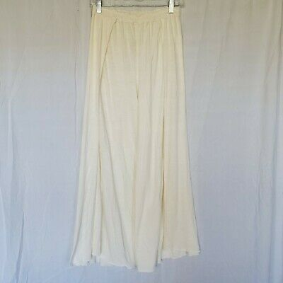 Intimately Free People Pants Ivory Flowy Wide Slit Leg Elastic Waist Lounge XS