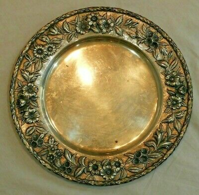 """S. Kirk & Son Inc Sterling Silver 11"""" Plate with Floral Repousse Border 22.6 OZT"""