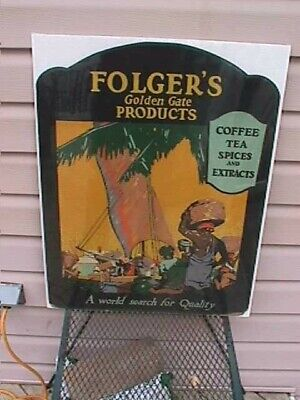1920-30's Folgers Golden Gate coffee sign  Die Cut  EXC graphics & colors