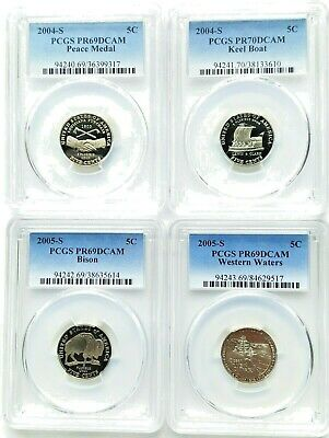 2004-S and 2005-S Westward Journey Nickel set PCGS PR69DCAM