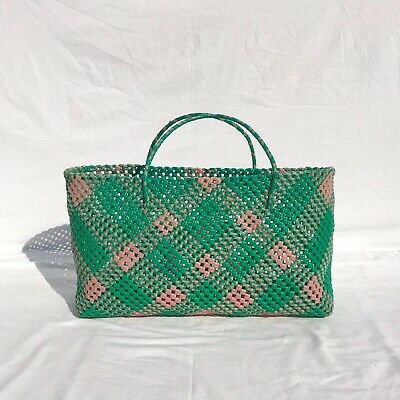 1950s Large Woven Basket Weekend Bag in Pink & Green
