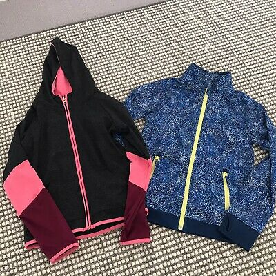 2 X Girls Active Wear Sport Zip Up Jumper Jacket John Lewis Primark Age 9 Vgc