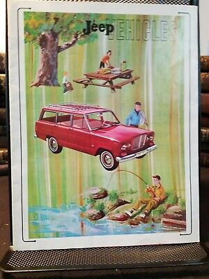 Jeep Vehicles 1964 Brochure & Poster Color-Illustrated Clean Complete Jeep Line