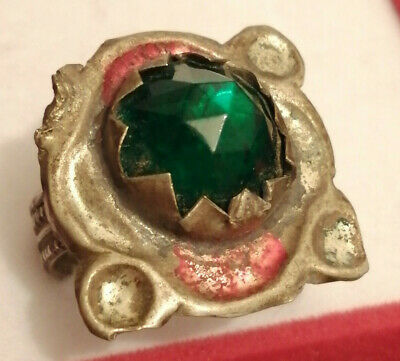 Extremely Rare Ancient Medieval Silver Ring With Amazing Stone