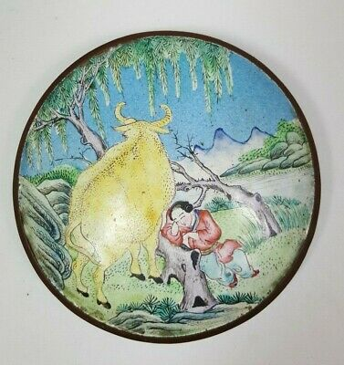 Antique Chinese Brass Enamel Hand Painted Round Powder Box Bull & Man Scene