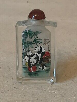 Superb Chinese Inside-Painted Glass Snuff Bottle Frolicking Panda Bears
