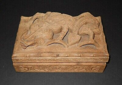 Vintage (Over 70 years old) Hand Carved Wood Dragon Jewelry Trinket Box