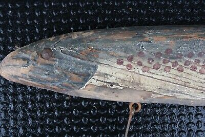 Giant Antique Fish Lure Trade Sign Original Paint Early Primitive Folk Art Decoy
