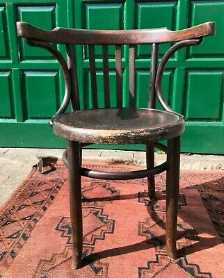 Vintage Bentwood Wooden Polish Cafe Chair with Attractive Carved Design to Seat