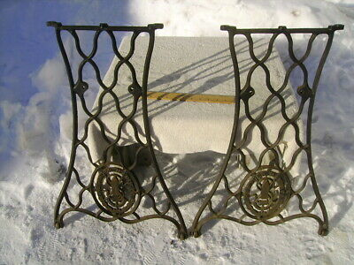 antique singer cast iron treadle sewing machine side legs base upcycle table