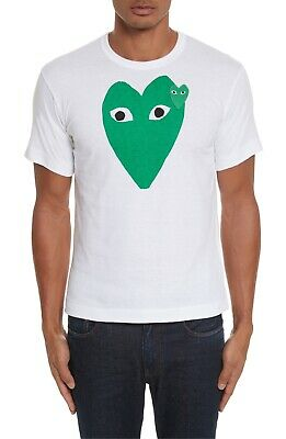 Mens Comme des Garcons PLAY T Shirt Two Green Hearts NEW SHIP WORLDWIDE
