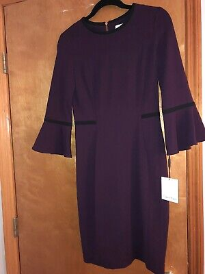 Womens Calvin Klein Purple Bell Sleeve Dress Size 4