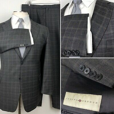 Joseph Abboud Nordstrom Charcoal Windowpane Plaid Mens Suit 48R Pants 45 x 31
