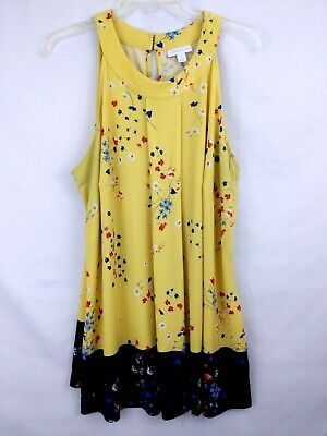 Charter Club Women's  Top Plus Size 2X Yellow Blue Tunic Stretchy Sleeveless
