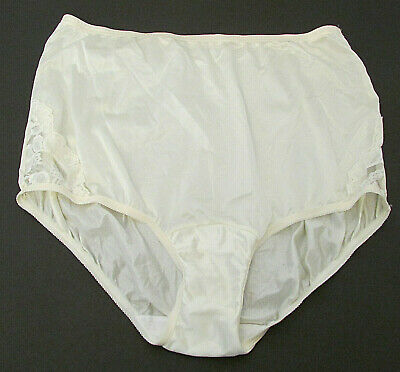 Vanity Fair 13-001 Silky Nylon Granny Sissy Brief Panty sz L Lace Hips USA made