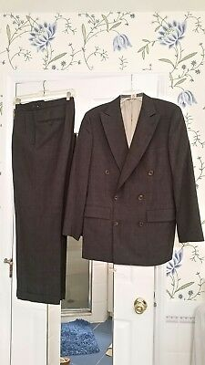 Paul Stuart II GRAY tweed Double Breasted dress suit jacket pants 39 R 32/30 In