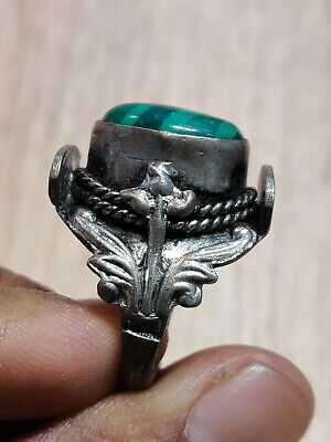 Ancient Artifact Medieval Silver colored gothic Ring with natural green stone
