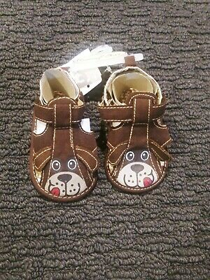 Rising Star Infant Boys Brown Sandals Soft Baby Crib Shoes Size 1 3-6m