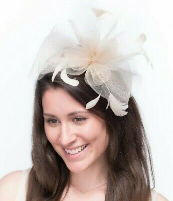 New Ladies Outdoor Occasion Wedding/Races Fascinator Style F3411 Ivory