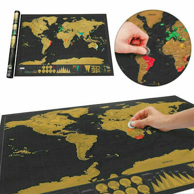 Mini Scratch Off World Map Deluxe Edition Travel Log Poster E0G2 Wall Journ T1O3