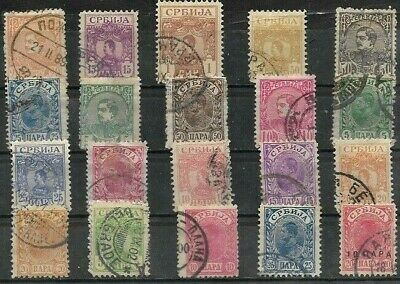 SERBIA..20 STAMPS, KING MILAN & ALEXANDER 1st.. UN-USED & FINE USED .1880-1903.