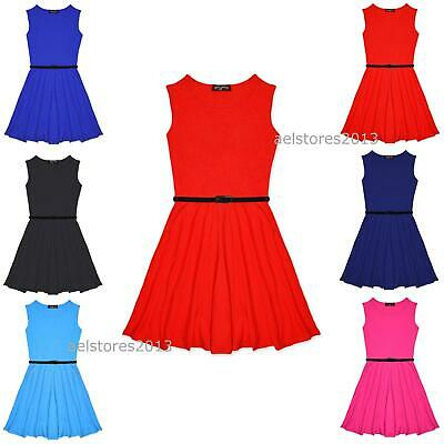 Girls Skater Dress Kids Plain Print Summer Party Dresses Outfit Age 7-13 Years.