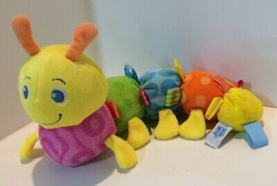 Mary Meyer  Baby TAGGIES Plush CATERPILLAR Orange Yellow Blue Pink
