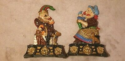 Awesome Decorative Pair Of Vintage Punch And Judy Cast Iron Door Stops Painted