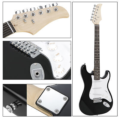 Black Electric Guitar Full Size with Amp, Case and Accessories Pack Beginner