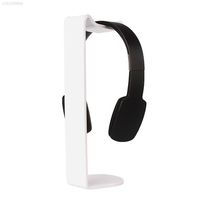 F402 Universal Acrylic Headset Holder Desk Display C-Shape Stand White Solid