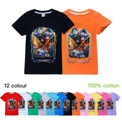 Kids Children Onward Short Sleeve T-Shirt Boys Girls 100% Cotton Tee Tops Gift
