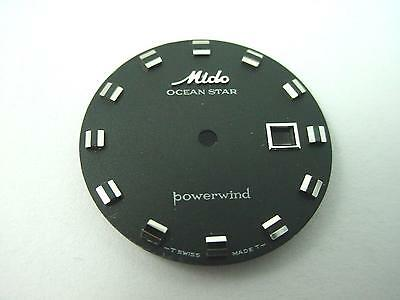 Ocean Star Mido Powerwind Black Vintage Watch Dial 22.82mm Silvr Mrkrs Date Wndw