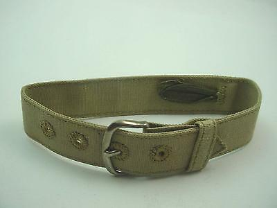 """Mens Vintage Khaki Canvas Watch Band 16mm 5/8"""" Wide Gold Tone Buckle New Old Stk"""