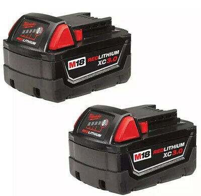 Two (2) New Genuine Milwaukee M18 18v RED LITHIUM XC 3.0 Batteries Lot Combo