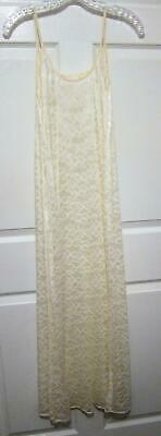 Sexy UNWORN Vintage Ivory Olga Sheer Lace Slim Nightgown 92002 Size Small