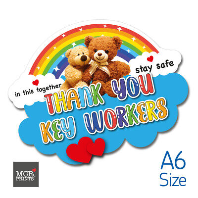 Rainbow Thank You NHS Key Workers Window Sticker, Support NHS