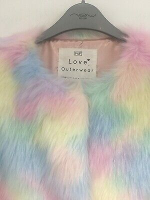 Girls Faux Fur Gilet Age 13-14 Pastel Blue Pink Yellow Would Fit Size 8 Ladies