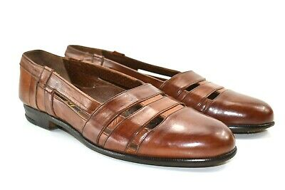 Miguel Angel Men's Brown Leather Loafers Slip On Dress Shoes 7.5 M